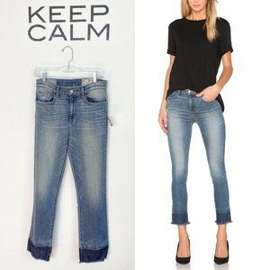 Siwy Jackie Crop Straight Jeans Blue Frayed Hem 29